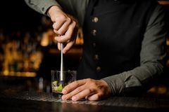 Bartender squeezing juice from fresh lime using citrus press stock photos