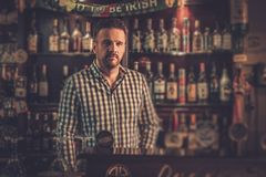 Bartender standing at bar counter in his pub. Stock Image