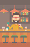 Bartender standing at the bar counter. Stock Photo