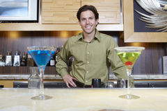 Bartender Standing Behind Bar Counter Stock Photography