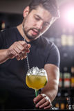 Bartender is stirring cocktail Royalty Free Stock Photos