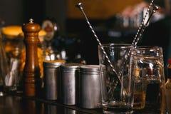 Bartender tools on bar Stock Image
