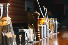 Bartender tools on bar Royalty Free Stock Photo