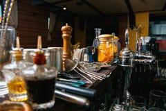 Bartender tools on bar Royalty Free Stock Image