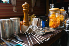 Bartender tools on bar Stock Images