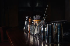 Bartender tools on bar Stock Photo