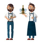 Bartender in uniform in two looks: in a apron, with a tray and in a jeans with a shaker vector illustration