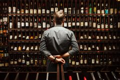 Bartender at wine cellar full of bottles with exquisite drinks. Bartender at wine cellar full of bottles with exquisite alcohol drinks that have various sweet stock photos