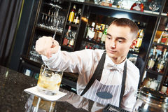 Bartender work at bar Royalty Free Stock Images