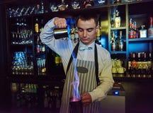 Bartender work at bar Royalty Free Stock Photo