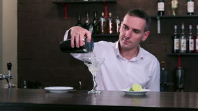 Bartender at work behind the bar stock footage