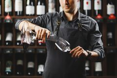Bartender pours red wine in glass from big transparent vessel. Bartender in work uniform pours red wine in glass from decanter and stands in spacious cellar with Royalty Free Stock Photo