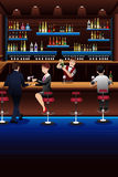 Bartender working in a bar. A vector illustration of bartender working in a bar Royalty Free Stock Photography