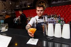 Bartenderarbetet royaltyfri fotografi