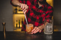 Bartenderdanande och dekorera coctailnärbild royaltyfri foto