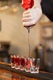 Bartenderen fyller några exponeringsglas i en ro Fotografering för Bildbyråer