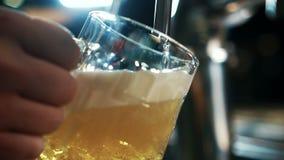 Bartendermannen är fyllnads- exponeringsglas med öl i moderiktig stång inomhus stock video