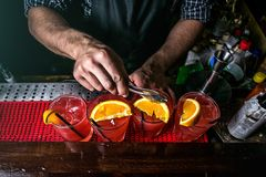 Bartendern förbereder coctailar royaltyfria foton
