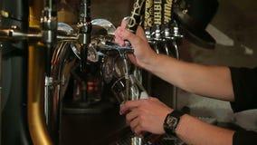 Bartendern häller ett exponeringsglas av öl i restaurangen stock video