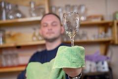 Bartendern polerar vinexponeringsglas Arkivfoto