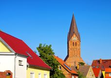 Barth city and church, an old town on the Bodden. In Germany royalty free stock photo