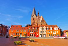 Barth market square and church, an old town in Germany. Barth market square and church, an old town on the Bodden in Germany stock image