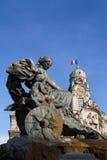Bartholdi Fountain and city hall Royalty Free Stock Image
