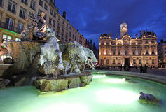 Bartholdi Fountain, Lyon by night Royalty Free Stock Images