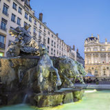Bartholdi Fountain in Lyon by night Stock Images