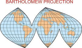 Bartholomew projection map Stock Photo