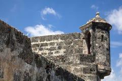 Bartizan of Cartagena's wall. Colombia Royalty Free Stock Photo