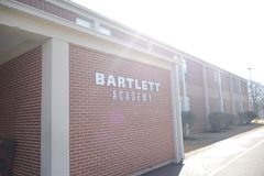Bartlett Academy School, Bartlett, TN. Bartlett City Schools cut the ribbon on their new ninth grade academy, in the building that used to house Shadowlawn Royalty Free Stock Photo