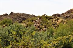 Bartlett Jeziorny rezerwuar, Maricopa okręg administracyjny, stan Arizona, Stany Zjednoczone sceniczny krajobrazowy widok Fotografia Stock