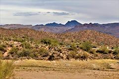 Bartlett Jeziorny rezerwuar, Maricopa okręg administracyjny, stan Arizona, Stany Zjednoczone sceniczny krajobrazowy widok Zdjęcia Royalty Free