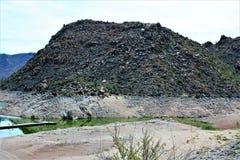Bartlett Lake behållare, Maricopa County, tillstånd av Arizona, scenisk landskapsikt för Förenta staterna arkivbild
