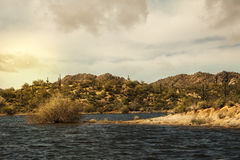 Bartlett Lake in Carefree Arizona. Bartlett Lake in Carefree, Arizona with desert landscape and saguaro cactus Royalty Free Stock Photography