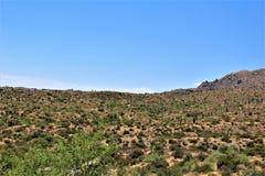 Bartlett Lake Reservoir, Maricopa County, State of Arizona, United States scenic landscape view. Scenic landscape spring view of surrounding area of Bartlett stock photography