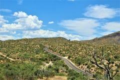 Bartlett Lake Reservoir, Maricopa County, State of Arizona, United States scenic landscape view. Scenic landscape spring view of surrounding area of Bartlett royalty free stock photos
