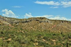 Bartlett Lake Reservoir, Maricopa County, State of Arizona, United States scenic landscape view. Scenic landscape spring view of surrounding area of Bartlett royalty free stock photo