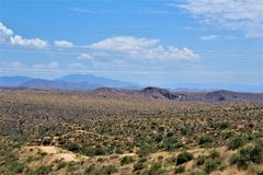 Bartlett Lake Reservoir, Maricopa County, State of Arizona, United States scenic landscape view. Scenic landscape spring view of surrounding area of Bartlett royalty free stock photography