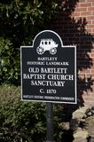 Bartlett Old Baptist Church Sanctuary Marker Royalty Free Stock Photos