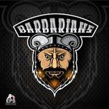 Bartmanngesicht mit gehörntem Sturzhelm Logo für irgendwelche Sportteambarbaren auf Dunkelheit stock abbildung