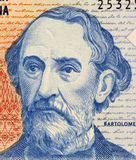 Bartolome Mitre. On 2 Pesos 1997 Banknote from Argentina. Statesman, author, military figure and president during 1862-1868 Stock Images