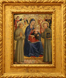 Bartolommeo Caporali: Madonna and Child with St. Francis and Bernardine. Old Masters Collection, Croatian Academy of Sciences in Zagreb Stock Image