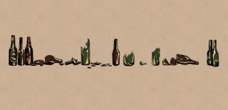 Bartribune met flessen stock illustratie