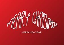 Barttypographie der frohen Weihnachten Lizenzfreie Stockfotos