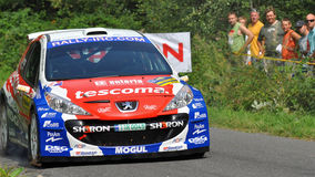 Barum Czech Rally 2009 IRC. ZLIN, CZECH REP. - AUGUST 22 : Driver Kresta Roman and co driver Gross Petr in Peugeot 207 S2000 at speed stage no. 4 during Barum Stock Image