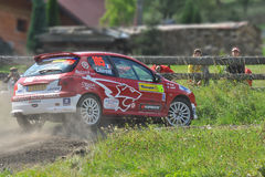 Barum Czech Rally 2009 IRC. ZLIN, CZECH REP. - AUGUST 23, Driver Laurent Dominique and co-driver Venus Jiri in car Peugeot 206 RC at speed stage no.13 during Stock Image