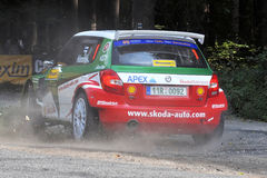Barum Czech Rally 2009 IRC. ZLIN, CZECH REP. - AUGUST 22 : Driver Hanninen Juho and co driver Markkula Mikko in car Skoda Fabiaat speed stage no. 4 during Barum Royalty Free Stock Photo