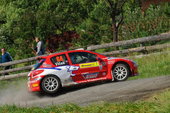 Barum Czech Rally 2009 IRC. ZLIN, CZECH REP. - AUGUST 23, Driver Vlcek Jiri and co-driver Klicka Milan in car Peugeot 206 s1600 at speed stage no.10 during Barum Stock Photos
